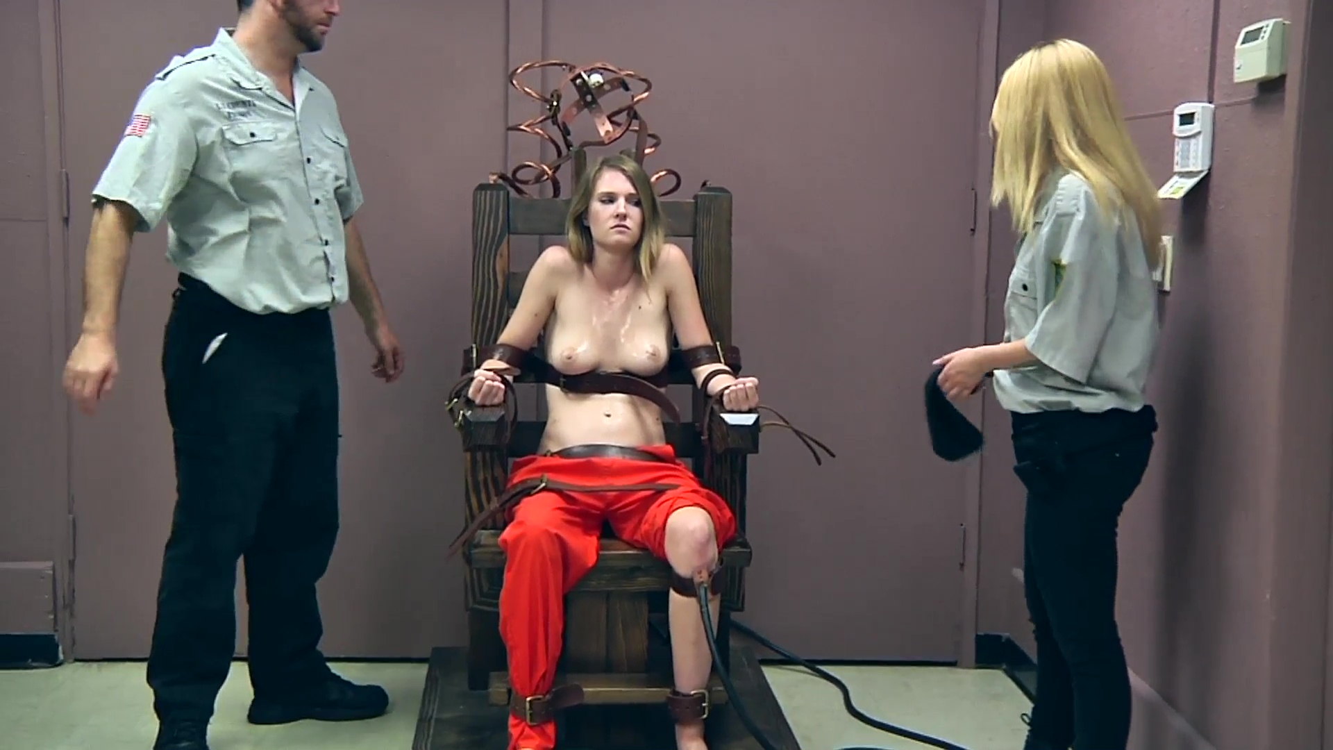nude woman electric chair